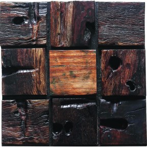 TST Wooden Squared  Mosaic Unique Style Wall Designed Nail Holes and Varnished Surface Interior Deco