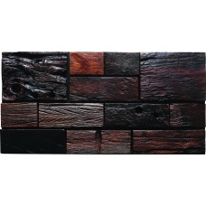 TST Aligned Wooden Panel Wall Deco Striped Darkish Tiles Interior Deco