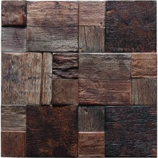 TST Wooden Squared  Mosaic Tile Primitive Style Wall Designed Antique Shop and house Deco Art