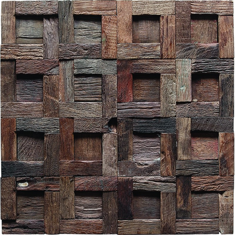 Tst Wooden Squared Mosaic Tiles Wall Panel Deco Midcentury