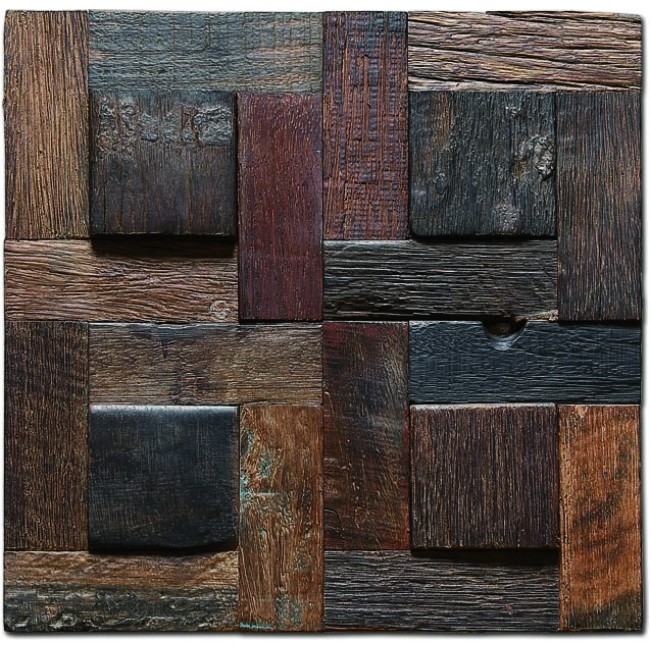 TST Wooden Squared  Mosaic  Wall Designed Raised Wooden Wall Deco