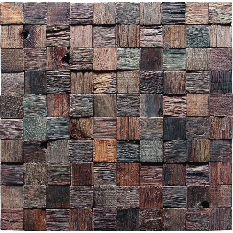 Wooden Squared Mosaic tiles Wall Panel Design Rustic Craftsman