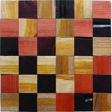 TST  Wooden Squared Mosaic tiles Wall Panel Design Rustic Crafts with Transitional Home Decor