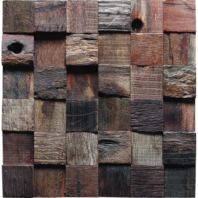 TST Wooden Squared  Mosaic Pallets  Wall Designed  Nail holes and Nneven Surface Hotel Remodeling Deco Art