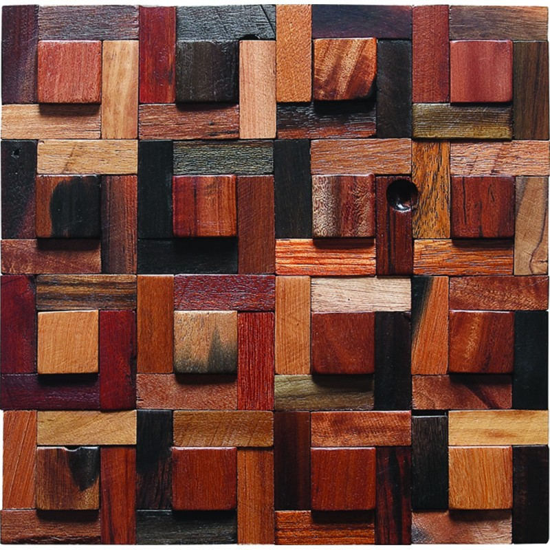 TST Irregular Tiles Wooden Mosaic Tiles Country Style Colorful Wooden Tiled  For Wall Decor