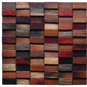 TST Wooden Squared Mosaic Tiles Raised Wall  Deco Dotted Pattern Backsplash Tiles