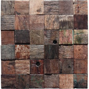 TST Wooden Squared  Mosaic Old Times Style Wall Designed  Interior Design