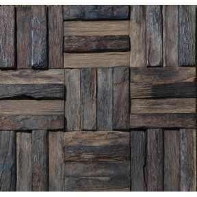 TST Wooden Squared  Mosaic  Wall Wild  Designed Weathering Surface Remodeling Deco Art