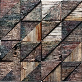 TST Wooden Squared  Mosaic Triangle Blocks Wall Designed Solid Wood Interior Decor
