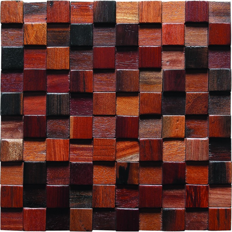 TST Wooden Squared Mosaic Tiles Raised Wall Deco Dotted Pattern